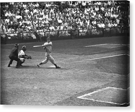 Men Playing Baseball, (b&w), Elevated View Canvas Print by George Marks