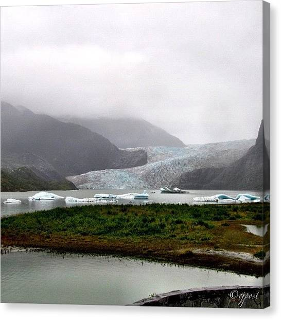 Glaciers Canvas Print - Mendenhall Glacier And Lake With Ice by Cynthia Post
