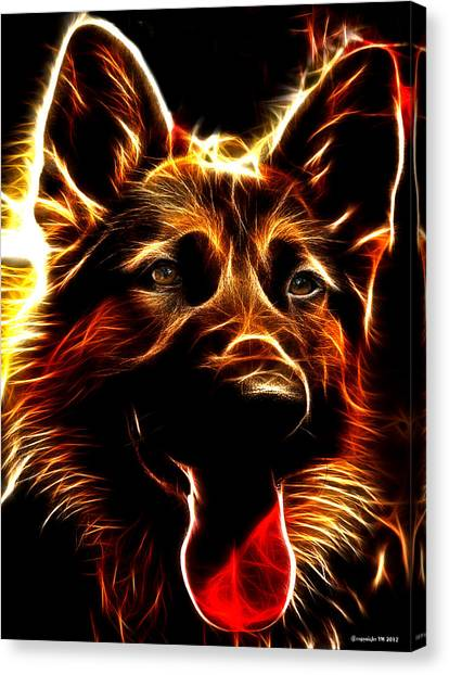 Mens Best Friend - German Shepherd Portrait Canvas Print