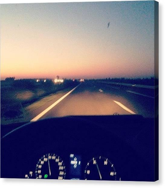 Race Cars Canvas Print - #mercedesbenz #road #sunset #sun #2012 by Omar Chawki