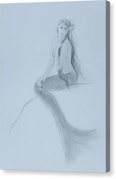 Mermaid Christina Touching Her Hair Canvas Print by Tina Obrien