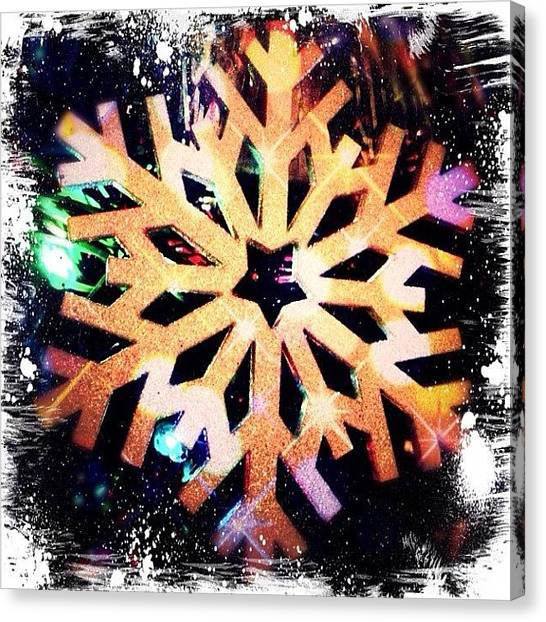Snowflakes Canvas Print - #merry #christmas #ornaments #white by Melissa Mariani