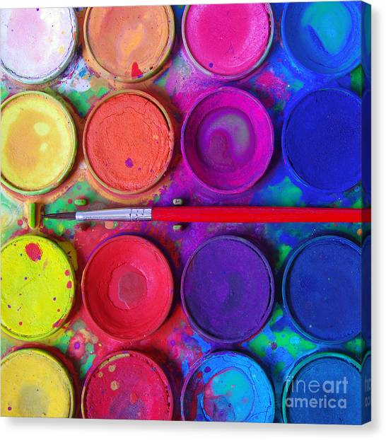 Colorful Canvas Print - Messy Paints by Carlos Caetano