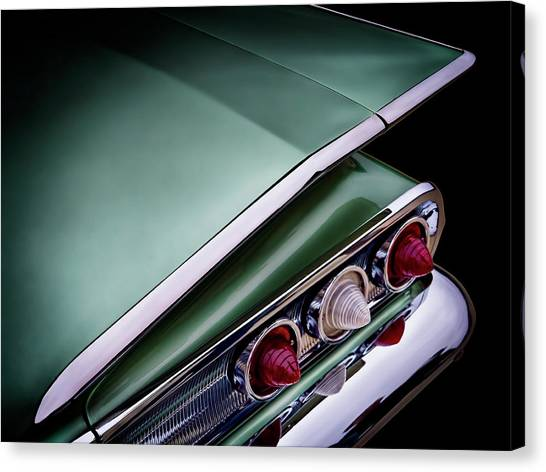 Vintage Chevrolet Canvas Print - Metalic Green Impala Wing Vingage 1960 by Douglas Pittman