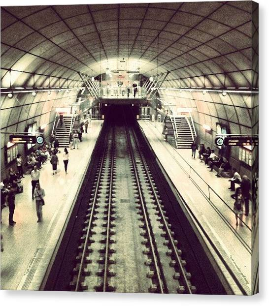 London Tube Canvas Print - #metro #bilbao #architecture by David R