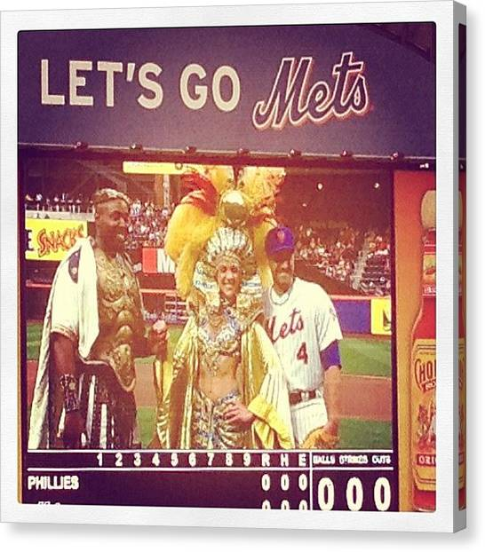 Fireworks Canvas Print - Mets Pitch by Rebecca Shinners