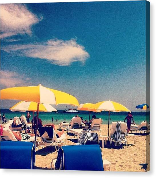 Surfing Canvas Print - Miami South Beach by DJ Flem