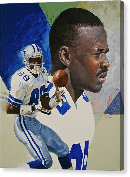 Dallas Stars Canvas Print - Michael Irvin by Cliff Spohn