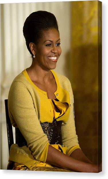 Health Insurance Canvas Print - Michelle Obama Wearing A J. Crew by Everett