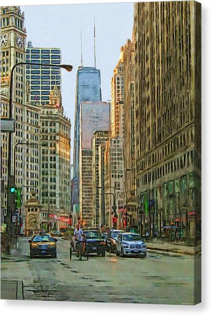 Bridge Canvas Print - Michigan Avenue by Vladimir Rayzman