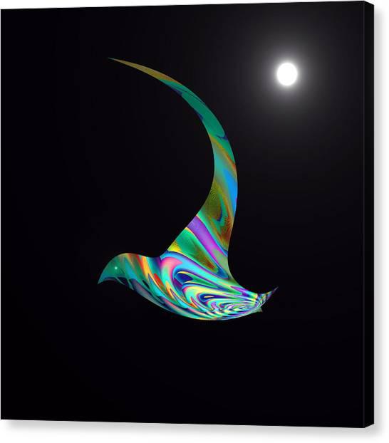 Canvas Print featuring the digital art Midnight Flight by Visual Artist Frank Bonilla