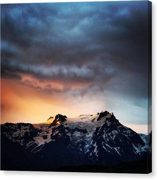 Glaciers Canvas Print - Midnight Sun #iceland by Jakub Stefun
