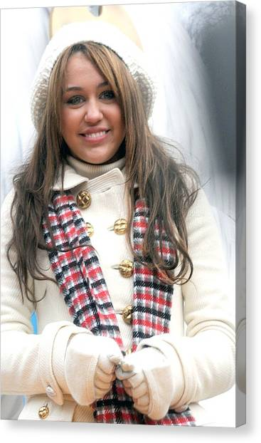 At A Public Appearance Canvas Print - Miley Cyrus At A Public Appearance by Everett