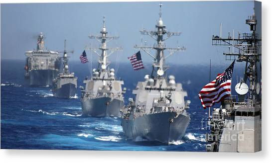 John Mccain Canvas Print - Military Ships In Formation At Sea by Stocktrek Images