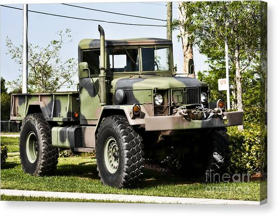 Green Camo Canvas Print - Military Truck by Blink Images
