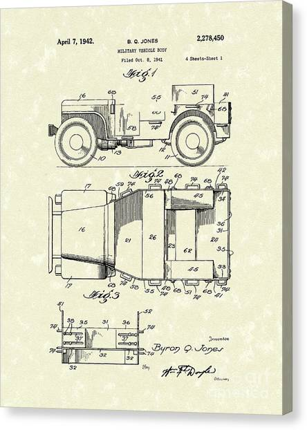 Offroading Canvas Print - Military Vehicle 1942 Patent Art by Prior Art Design
