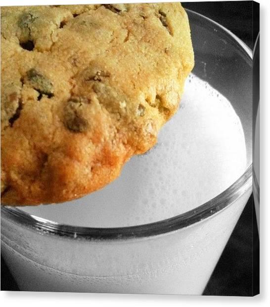 Milk Canvas Print - #milk And #cookie by Melanie Stork