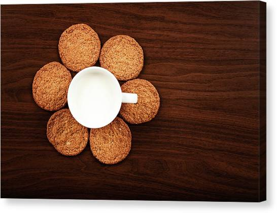 Milk Canvas Print - Milk And Cookies On Table by Elias Kordelakos Photography