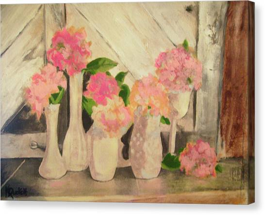 Milk Glass Vases With Flowers Canvas Print by Kemberly Duckett