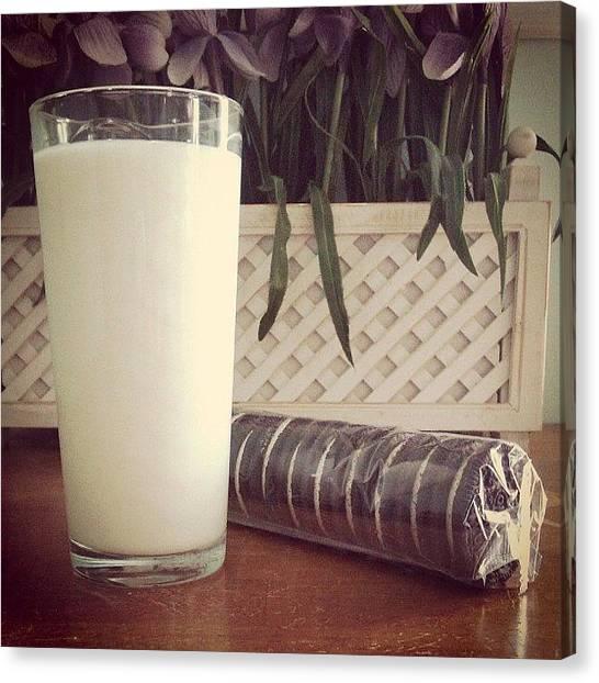 Milk Canvas Print - Milks Favorite Cookie :) #oreo #oreos by Kelly Solarz