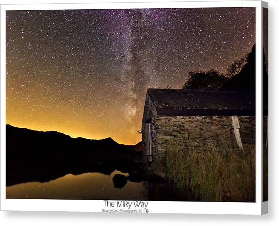 Milky Way Above The Old Boathouse Canvas Print