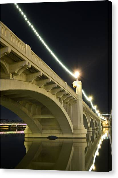 Mill Avenue Bridge At Night Canvas Print