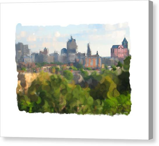Milwaukee From Resevoir Park Canvas Print by Geoff Strehlow