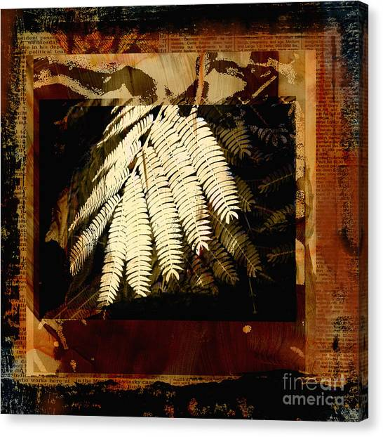 Mimosa Canvas Print - Mimosa Leaf Collage by Ann Powell