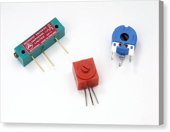 Mini Pcb Potentiometers Canvas Print by Trevor Clifford Photography