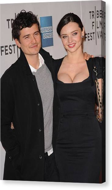 Orlando Bloom Canvas Print - Miranda Kerr, Orlando Bloom At Arrivals by Everett