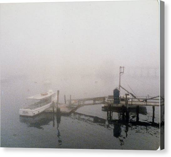 Misty Harbor Rye Beach Canvas Print by Anthony Ross