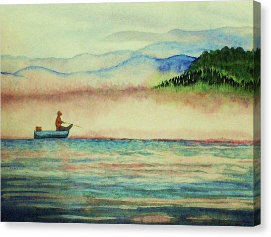 Misty Morning Catch Canvas Print by Jeanette Stewart