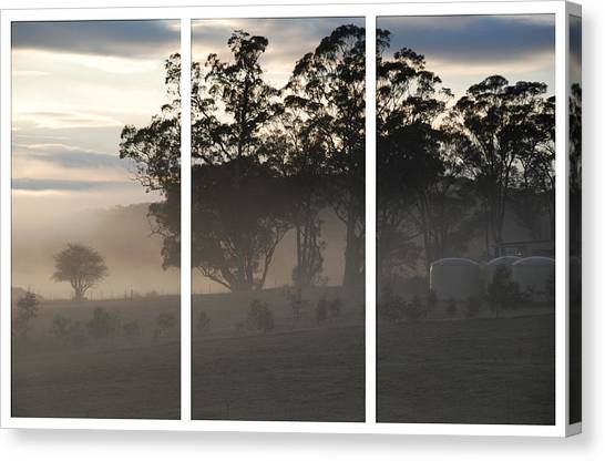 Misty Morning Triptych Canvas Print