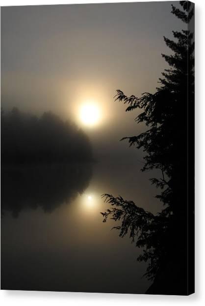 Misty Sunrise Canvas Print by Waldemar Okon