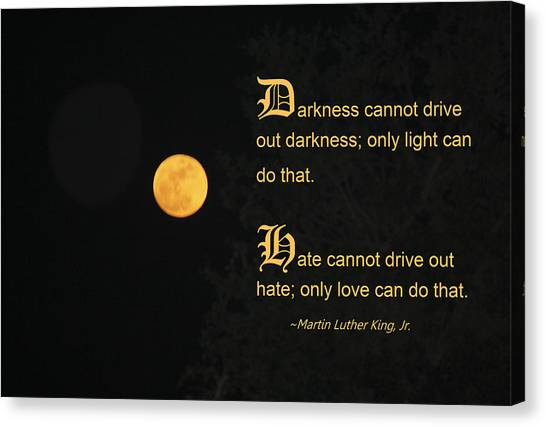 Mlk And A Yellow Moon Canvas Print by Andrea  OConnell