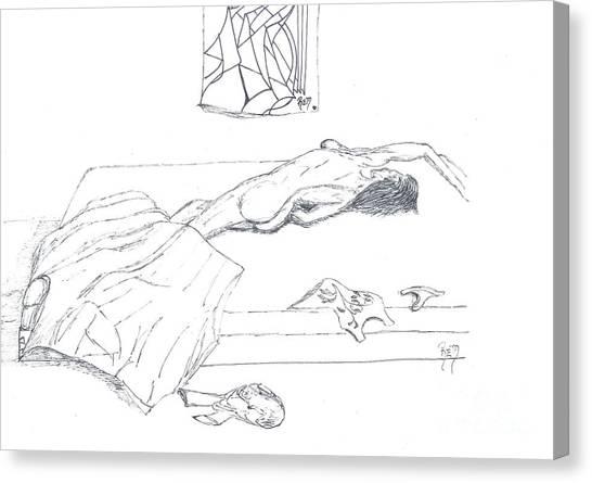 Mmm...stretch... Sketch Canvas Print by Robert Meszaros