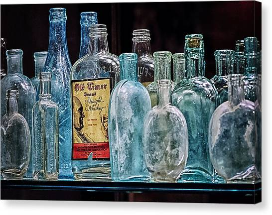 Mob Museum Whiskey Bottles Canvas Print by Sandra Welpman