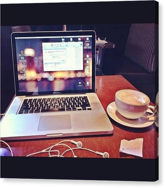 Mac Canvas Print - Mobile Work Space. - #cafe #mac #apple by Liza Mae | Luxavision