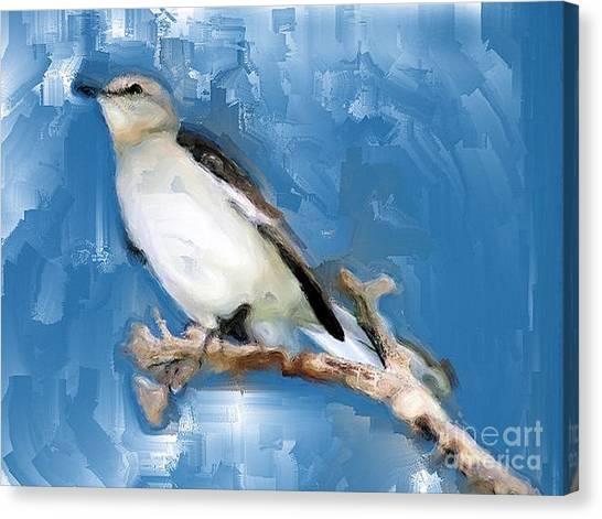 Mocking Bird In Blue Canvas Print