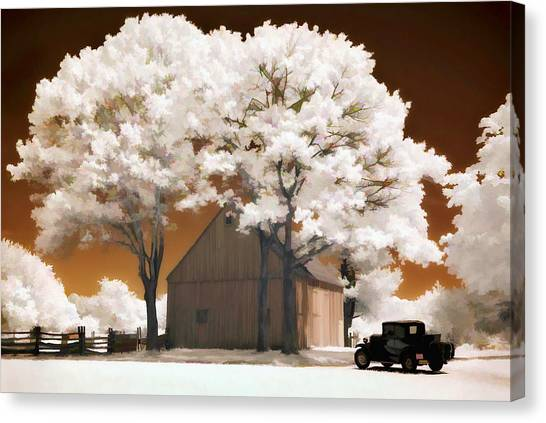 Model A And Old Barn Canvas Print