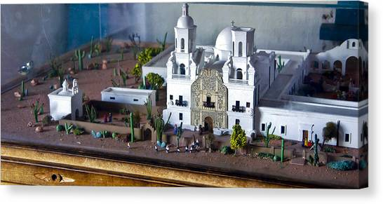 Father Kino Canvas Print - Model Of San Xavier Del Bac Mission by Jon Berghoff