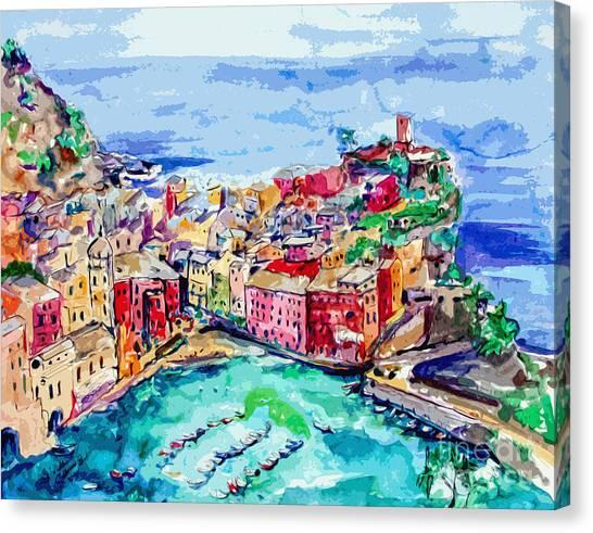 Modern Abstract Vernazza Italy Cinque Terre Canvas Print
