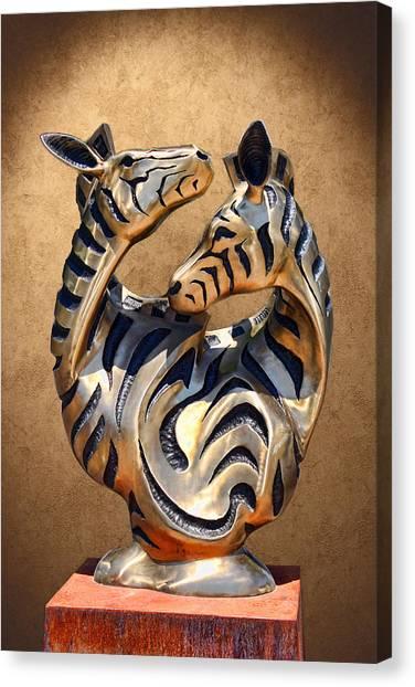 Modern Zebra Sculpture Canvas Print by Linda Phelps