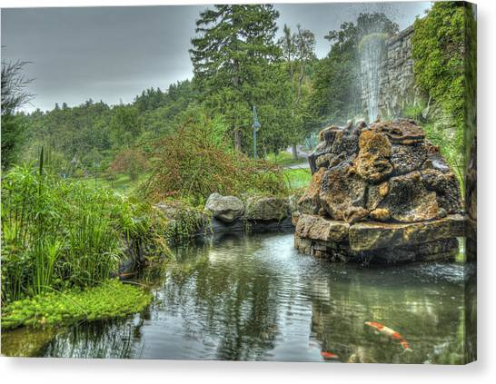 Mohonk Koi Pond On A Rainy Day Canvas Print by Donna Lee Blais