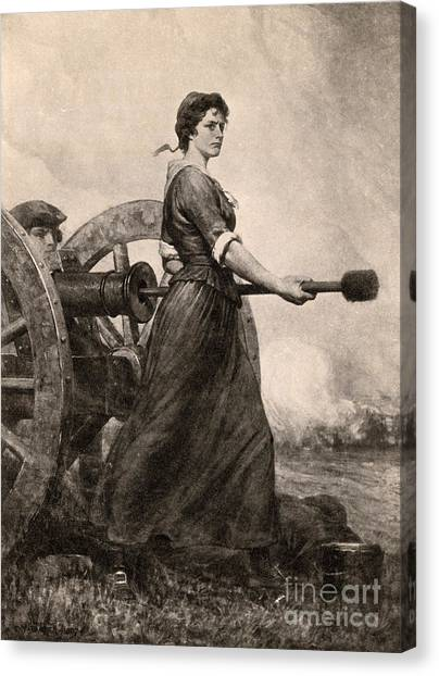 Notable Canvas Print - Molly Pitcher At The Battle by Photo Researchers