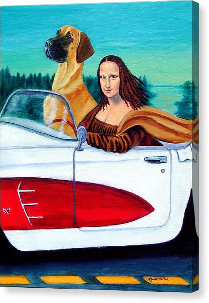 Great Danes Canvas Print - Mona Likes To Cut Loose  by Lyn Cook