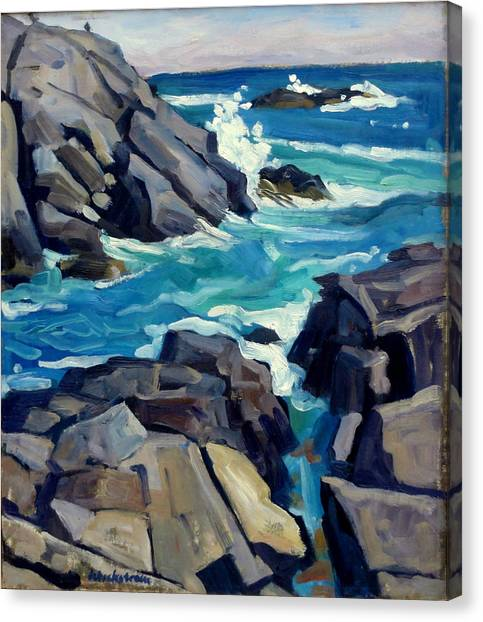 Monhegan Surf Maine Seascape Canvas Print