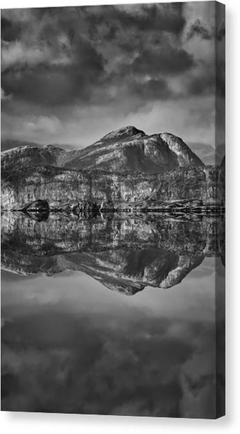 Monochrome Mountain Reflection Canvas Print