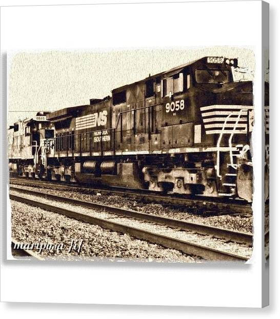 Edit Canvas Print - Monochrome Rail by Mari Posa