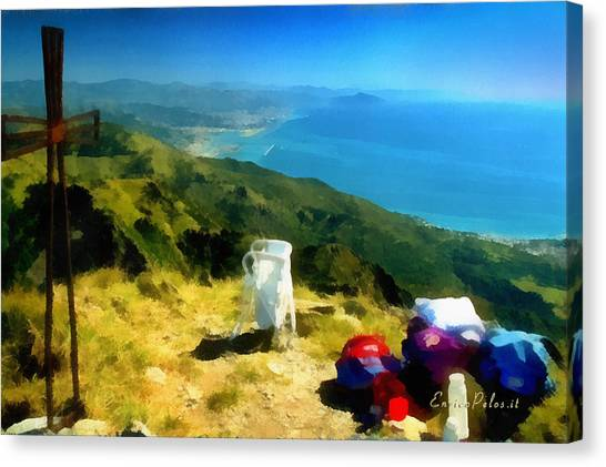 Monte Rama E Panorama Su Genova Canvas Print